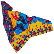 streetart-silk-scarf-barcelona-by-mocomoco-berlin-artist-anais-loison-140x140cm-blue-yellow-lying-folded-in-bird-wing-shape_1