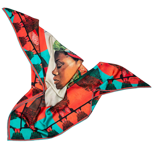 streetart-silk-scarf-buenos-aires-by-mocomoco-berlin-artist-mabel-vicentef-scarf-with-motif-women-with-river-and-forest-in-her-head-lying-folded-in-bird-wing-shape