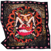 streetart-silk-scarf-new-york-by-mocomoco-berlin-artist-collagism-motif-lust-flesh-red-black-bronze-140x140cm-lying-folded