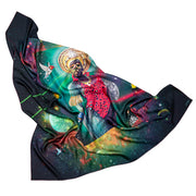 streetart-silk-scarf-rio-de-janeiro-by-mocomoco-berlin-artist-pandronoba-motif-collage-samba-dancer-sapretah-dancing-in-the-universe-140x140cm-folded in-bird-wing-shape