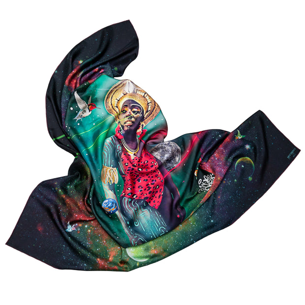 streetart-silk-scarf-rio-de-janeiro-by-mocomoco-berlin-artist-pandronoba-motif-collage-samba-dancer-sapretah-dancing-in-the-universe-140x140cm-folded in-bird-wing-shape-2