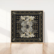 silk-scarf-street-art-paris-artist-madame-moustache-interior-edition-by-mocomoco-berlin-scarf-with-collage-with-heads-of-women-black-gold-sewn-on-canvas-and-framed-in-light-wood-floating-frame-standing-in-a-living-room