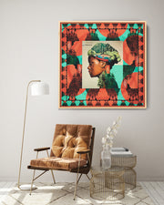 silk-scarf-street-art-buenos-aires-artist-mabel-vicentef-by-mocomoco-berlin-interior-edition-scarf-sewn-on-canvas-and-framed-in-light-floating-frame-hanging-in-a-living-room