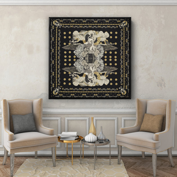 silk-scarf-street-art-paris-artist-madame-moustache-interior-edition-by-mocomoco-berlin-scarf-with-collage-with-heads-of-women-black-gold-sewn-on-canvas-and-framed-in-black-wood-floating-frame-hanging-in-a-living-room