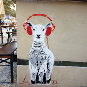 street-art-original-motif-from-silk-scarf-by-mocomoco-berlin-artist-cazl-sheep-lulu-listen-music-90x90cm