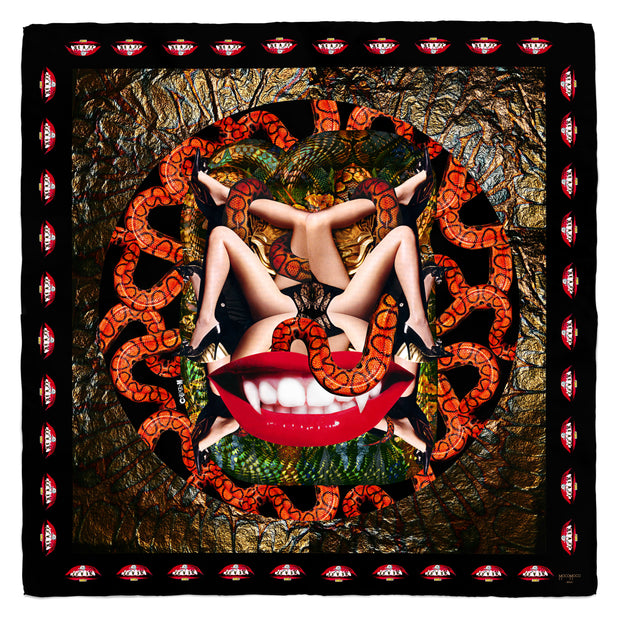 streetart-silk-scarf-new-york-by-mocomoco-berlin-artist-collagism-motif-lust-flesh-red-black-bronze-140x140cm