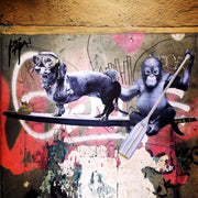 street-art-motif-by-artist-cazl-from-series-when-stranger-become-friends-with-dachshund-salamidoggy-and-chimpanzee-as-basis-for-streetart-silk-scarf-by-mocomoco-berlin