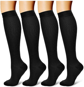 4 Pairs Compression Socks for Men and Women 20-30 mmHg Compression Stockings