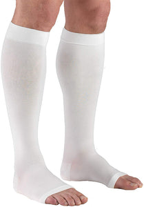 Truform 30-40 mmHg Compression Stockings for Men and Women, Knee High Length, Open Toe, White, Large