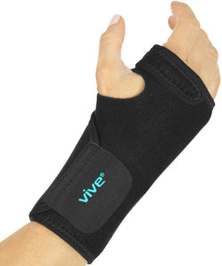 Vive Wrist Brace - Carpal Tunnel Hand Compression Support Wrap for Men, Women, Tendinitis, Bowling, Sports Injuries Pain Relief - Removable Splint - Universal Ergonomic Fit, One Size (Right)