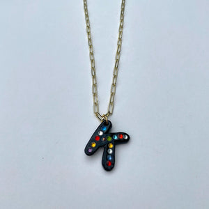 Name Necklace - Black Rainbow