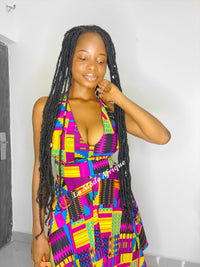 PURPLE KENTE SUMMER DRESS