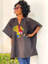 African Map kaftan top ( Unisex)