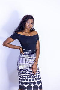 ANKARA BLACK AND WHITE SKIRT