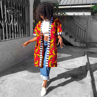 Stripes and red Ankara kimono
