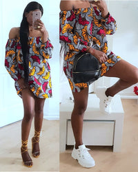 aseda-ben - AFRICAN PRINT OFF SHOULDER DRESS- ADAEZE