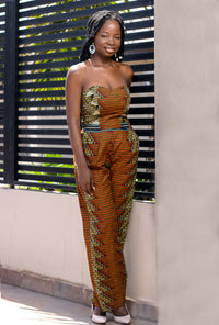 Ankara jumpsuit- BROWN