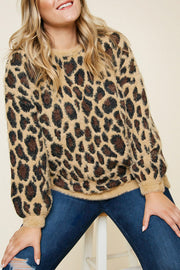 Leopard Mohair Pull Over Sweater Top