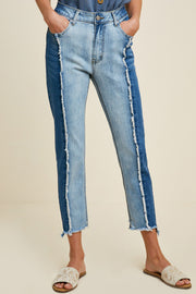 Two Toned Frayed Denim