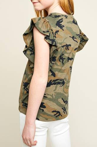 Girls Ruffle Sleeve Camo Tank