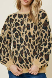 Girls Leopard Mohair Pull Over Sweater Top