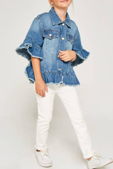 Girls Ruffle Stone Wash Denim Jacket