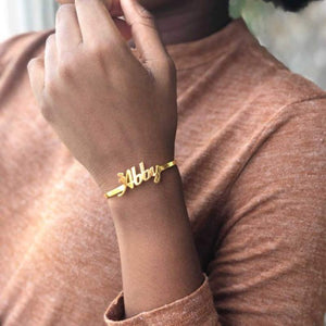 TrulyCraved Classic Name Bangle Gold Abby