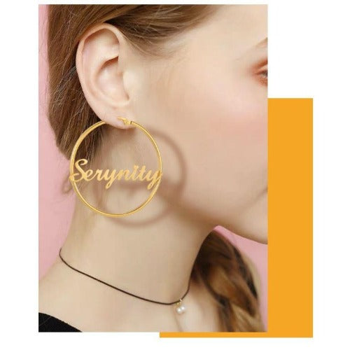 TrulyCraved Circular Hoop Name Earrings