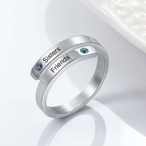 TrulyCraved Birthstone Engraved Ring