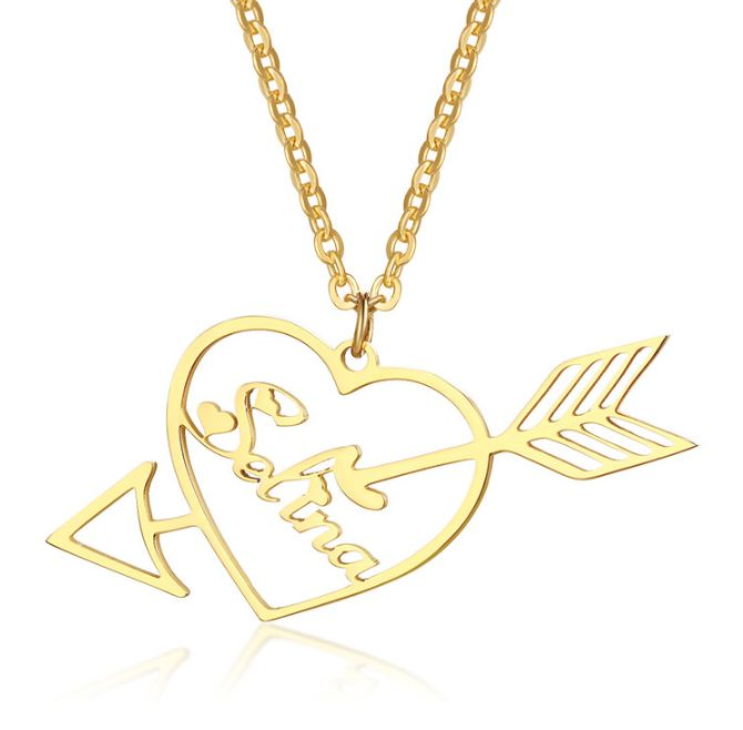 Cupid Heart Name Necklace