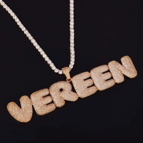 TrulyCraved Diamond Bubble Letter Necklace with Tennis Chain