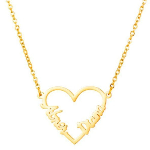 TrulyCraved Double Heart Name Necklace