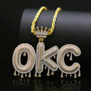 TrulyCraved Diamond Dripping Letter Necklace