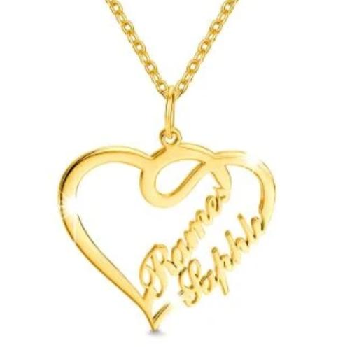 TrulyCraved Twin Heart Name Necklace