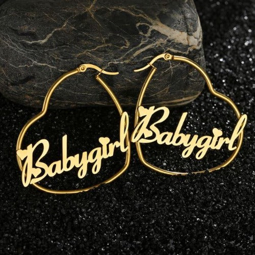 TrulyCraved Hoop Name Earrings