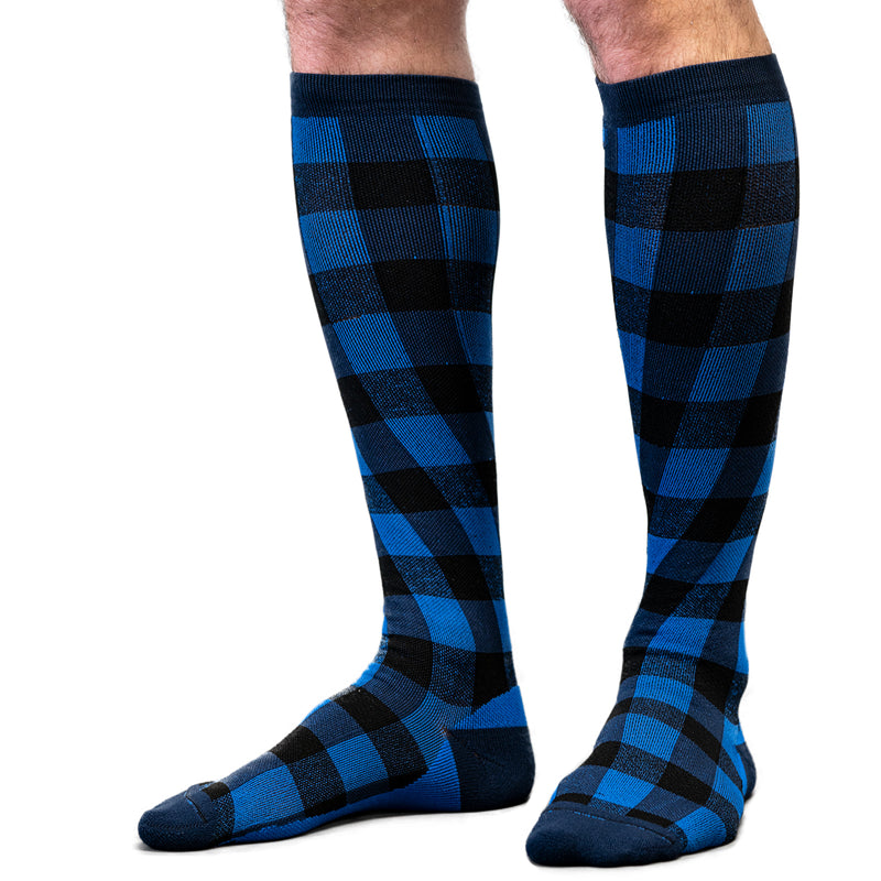 Twist & Go Check Compression Socks Navy