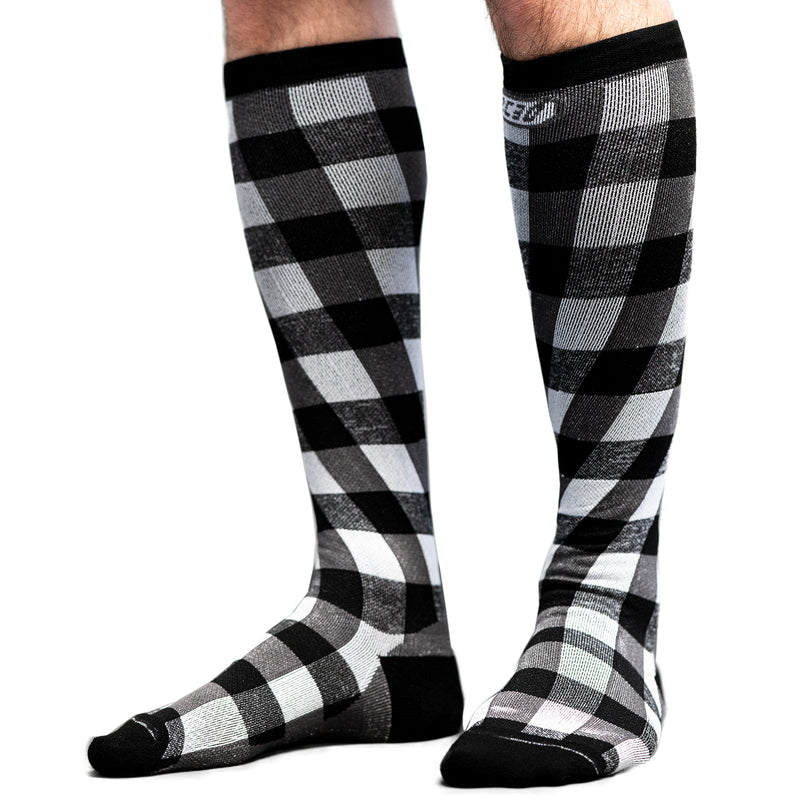 Twist & Go Check Compression Socks Black