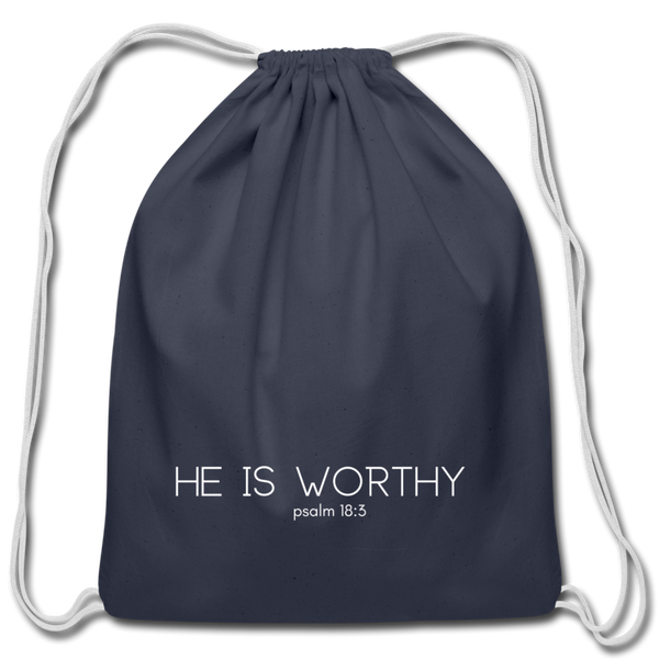 He Is Worthy Drawstring Bag - navy