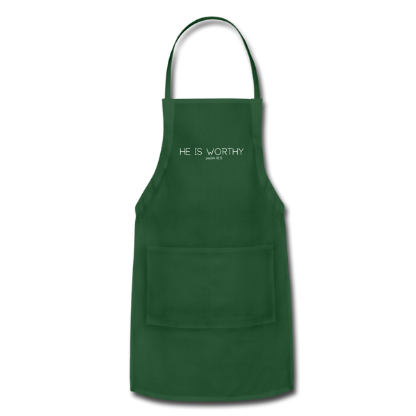 He Is Worthy Apron - forest green