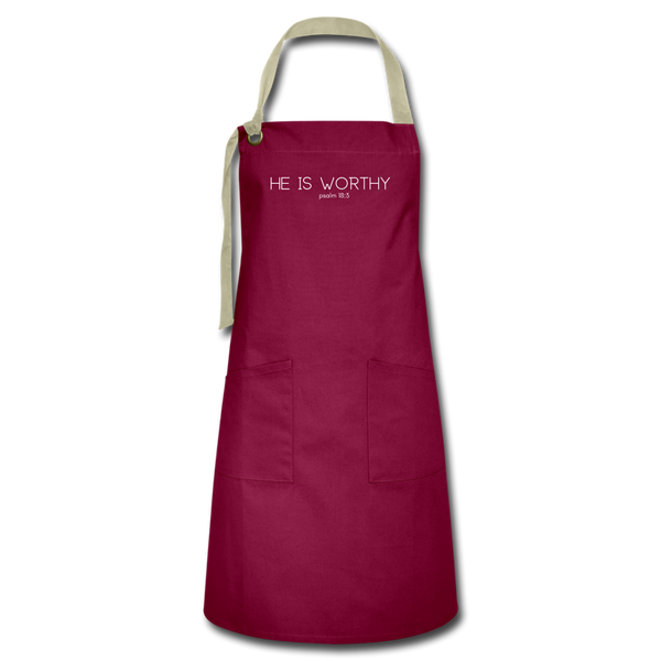 He Is Worthy Premium Apron - burgundy/khaki