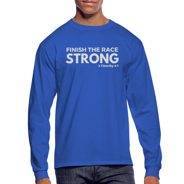 Men's Finish The Race Long Sleeve Tee - royal blue