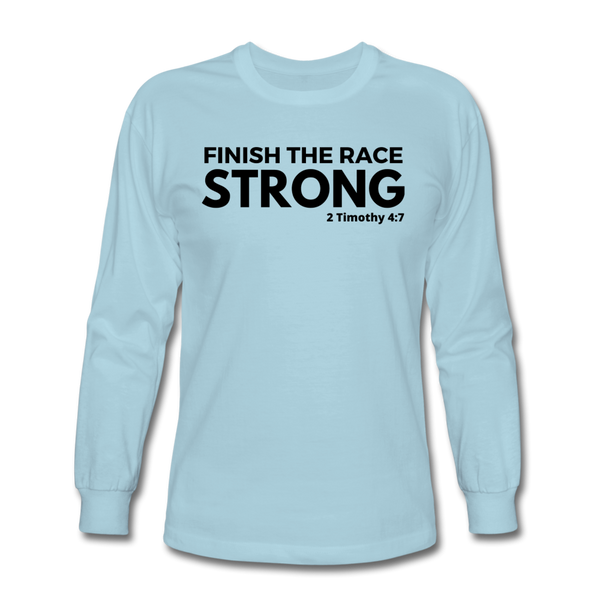 Men's Finsh The Race Long Sleeve Tee - powder blue