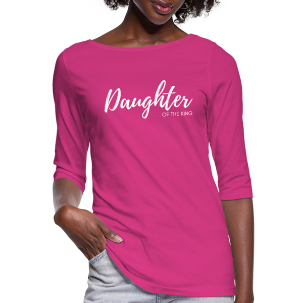 Daughter of The King 3/4 Sleeve Tee - fuchsia