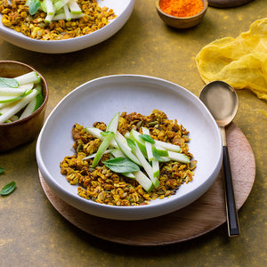Live Turmeric Granola prepared with apple