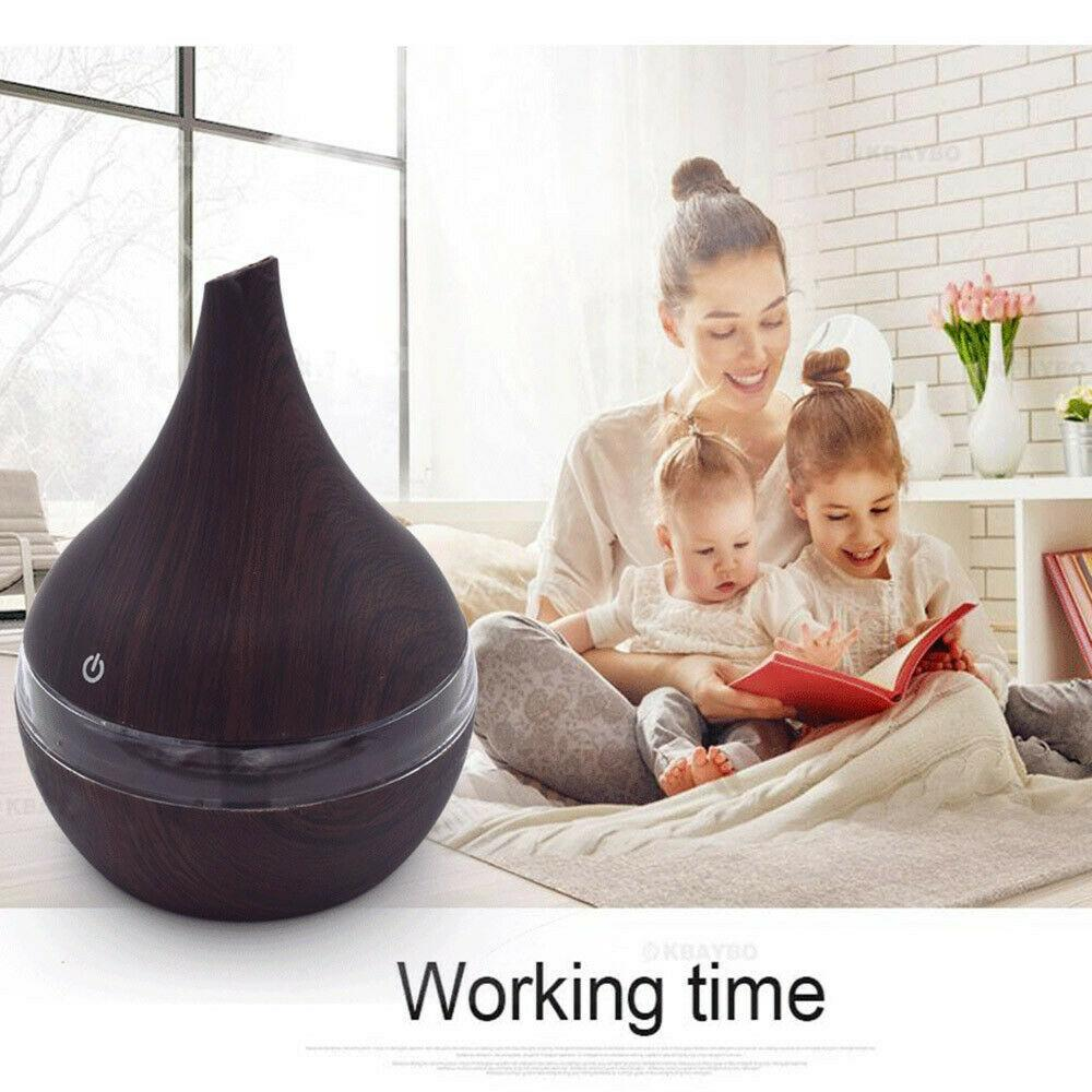 300 ml Wood Grain Vase Style Essential Oil Diffuser Light Wood Grained