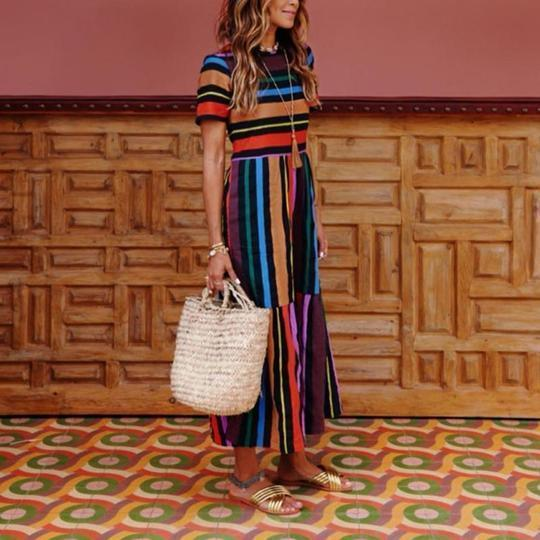 Bohemian Striped Multicolor Length Dress - Balma Home
