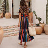 Image of Bohemian Striped Multicolor Length Dress - Balma Home