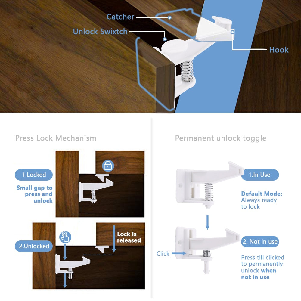 6Pcs Magnetic Cabinet Locks - Magnetic Drawer Lock