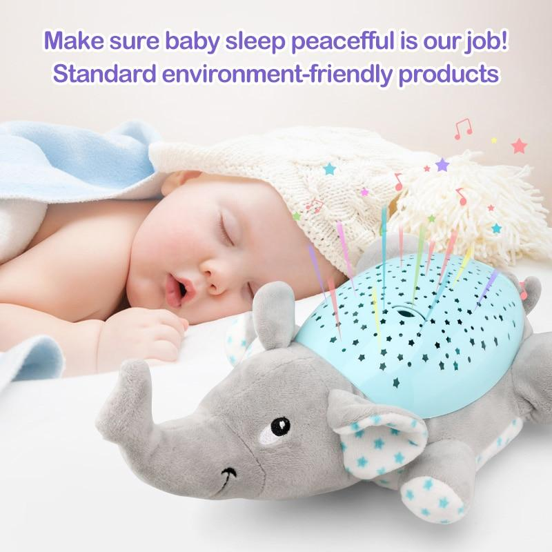 Baby Sleep LED Lighting Stuffed Animal Led Night Lamp Plush Toys With Music & Stars Projector Light