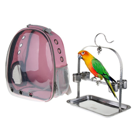Clear Cover Parrot Bird Carrier Backpack with Stainless Steel Perch Stand & Feeder - Balma Home
